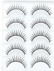 New 5 Pairs European Color Natural Black Long False Eyelashes Lovely Eyelash for Young Girl