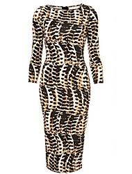 vestido de mediados de la manga de Bela mujeres europeo atractiva delgada del leopardo