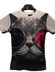 GEXY los hombres de Stereo Wild extranjero del gato imprime la camiseta europea y americana 3D