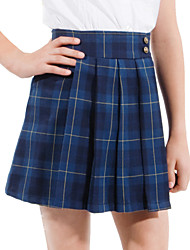 School Uniforms Girls' Dark Blue Tattersall Pleated Skirt