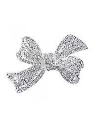 Silver Plated Bow Rhinestone Prong Alligator Barrette Hair Clip 2.1""