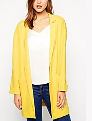 Women's Coat,Solid Long Sleeve All Seasons / Spring / Summer / Fall / Winter Yellow Cotton / Nylon / Others Medium