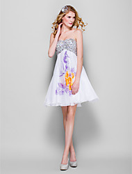 TS Couture Prom Dress - Pattern Dress A-line Sweetheart Short / Mini Chiffon Sequined with Beading Sequins