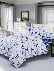 Mingjie Blue Stripes Sanding Bedding Sets 4pcs Duvet Cover Sets Bed Linen China Queen Size and Full Size