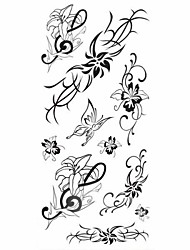 1pc Lily Butterfly Flower Series Waterproof Body Art Tattoo Pattern Temporary Tattoos Sticker(18.5cm*8.5cm)