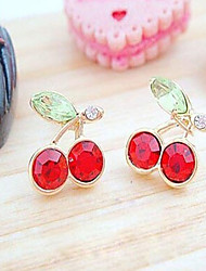 Fallingflower Japanese and Korean Version of The Cute Red Cherry Earrings Crystal Earrings