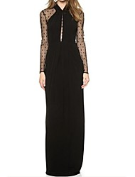 Women's Lace Black Long Draped Maxi Dress with Mesh Sleeves