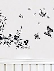 pegatinas de pared Tatuajes de pared ciruela y mariposa adhesivo decorativo