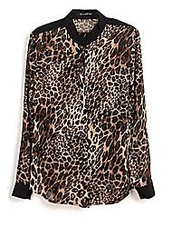 Mujeres Leopard Impreso Botón Casual abajo camisa de la gasa de la blusa