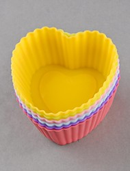 Set of 6 Useful Chocolate Cake Ice Cupcake Case Silicone Baking Cup Molds DIY Tools(Ramdom Color)