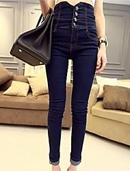 nuovo colore solido delle donne una fila di pulsanti Pantaloni a vita alta matita del denim