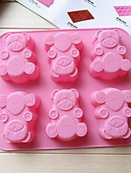 6 Hole Fat Bear Shape Cake Mold Ice Jelly Chocolate Mold