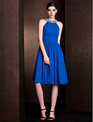 Knee-length Chiffon / Stretch Satin Bridesmaid Dress A-line Jewel Plus Size / Petite with Beading / Draping / Ruching