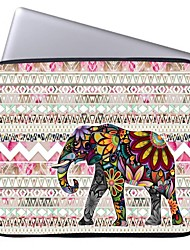 """Elonbo Beautiful Stripe and Exotic Elephant 15"""" Laptop Waterproof Sleeve Case for Macbook Pro Retina Dell HP Acer"""