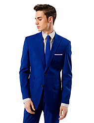 Blue Solid Tailored Fit Suit In Viscose