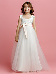 A-Line Floor Length Flower Girl Dress - Tulle Sleeveless Straps with Ribbon by LAN TING BRIDE®