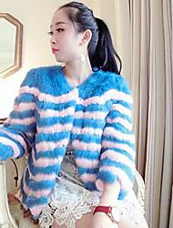 Fur Coat Long Sleeve Collarless Rabbit Fur Special Occasion/Casual Fur Coat(More Colors)