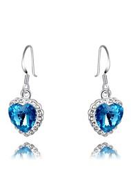 mode roxi coeur de l'océan cristal autrichien des femmes en or rose plaqué boucle d'oreille bleu zircon goutte d'alliage (1 paire)