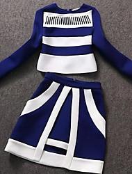 Women's Round Collar Tweed Suit(Shirt & Skirt)