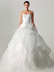 A-line Sweetheart Sweep / Brush Train Lace Wedding Dress