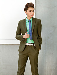 Dark Green Solid Slim Fit Tuxedo In Polyester