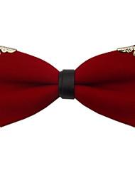 millésime nœud papillon de coton rouge des hommes avec le bord métallique nœud papillon de fête de mariage