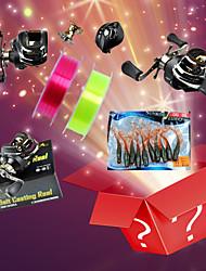 Комплект поставки Гуди мешок (11 правая рука рыболовных катушек + 3G рыболовные приманки Лески + 100 метров) (случайный цвет)
