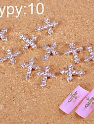 10pcs strass argent art accessoires Conseils de passage des doigts de la décoration des ongles