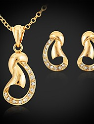 18K Gold Plated Choker Necklace Pendant Earrings Fashion Jewelry Sets Rhinestone Jewelry Gift