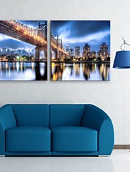 E-HOME® Stretched LED Canvas Print Art Bridge And City Construction Flash effect LED Set of 2