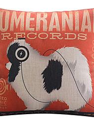 pomeranian padrão cão algodão / fronha decorativo linho