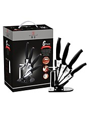 "Ceramic Cutlery Set  6 pcs ,  6"" /  5"" / 5"" /  4"" Ceramic  knives with Ceramic Peeler and Knife Block"