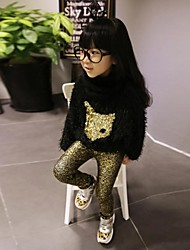 Girl's Solid Leggings,Cotton / Polyester Winter / Spring / Fall Gold / Silver