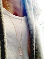 Европейский стиль простой обмен меди бусы ожерелье кристалла женщин