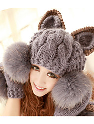 Women's Cute Warm Knitted Bobble Hat Grey