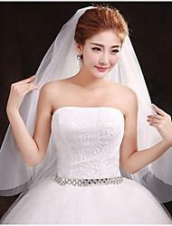 One-tier Wedding Veil With Cut Edge
