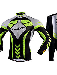 FJQXZ Cycling Jersey with Tights Men's Long Sleeves Bike Tights Clothing Suits Quick Dry Ultraviolet Resistant Breathable 3D Pad
