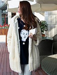 abrigo de piel sintética suave cálido invierno de las mujeres Hanshi