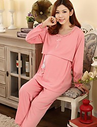 Women's Double Knitted Cotton Feeding Sets Maternity Wear Long-Sleeved Suit