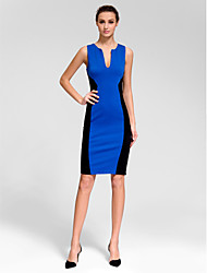 robe de cocktail de retour - bleu royal gaine / colonne v-cou court mini-polyester /
