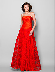 Lanting A-line Plus Sizes / Petite Mother of the Bride Dress - Ruby Floor-length Sleeveless Lace / Stretch Satin