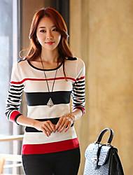 nuovo coreano collare rotondo sottile manica lunga che basano il maglione maglieria samantha donne