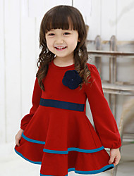 Girl's Blue / Red Dress,Solid Cotton Blend Winter / Fall / Spring