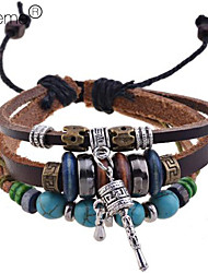 leather Charm Bracelets Lureme®Fashion Multi-Beads Turqoise Tone Leather Braided Bracelet