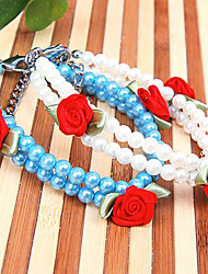 Chien Colliers Ajustable/Réglable Blanc / Bleu Plastique