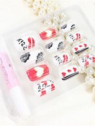 12 Pcs  Heart English Design Nail Art Tips With Glue