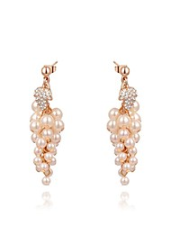 roxi forme de raisin de mode perle boucles d'oreilles de femmes champagne zircon boucle d'oreille goutte d'alliage (une paire)