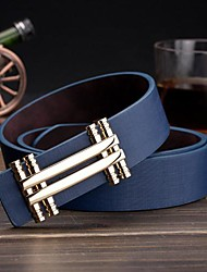 Men's Fashion Smooth Buckle Letter Pattern Leather Belt