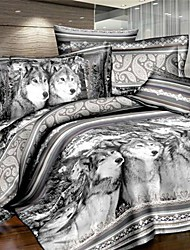 Duvet Cover Set,3D Oil Painting Bedding Set  4pcs Comforter Duvet Covers Bed Sheet Bedclothes Set with Wolf Pattern