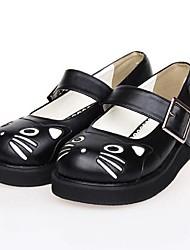 pu plataforma de 3 cm de cuero zapatos dulce lolita